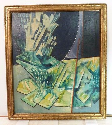VINTAGE ABSTRACT MODERNIST OIL PAINTING  Listed ITALIAN Conservation G. Caporali
