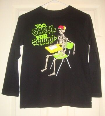 CHILDREN'S/PLACE~boys~HALLOWEEN/TOO/GHOUL/for/SCHOOL/SKELETON/TOP!(L~10/12) NEW! - Places For Halloween