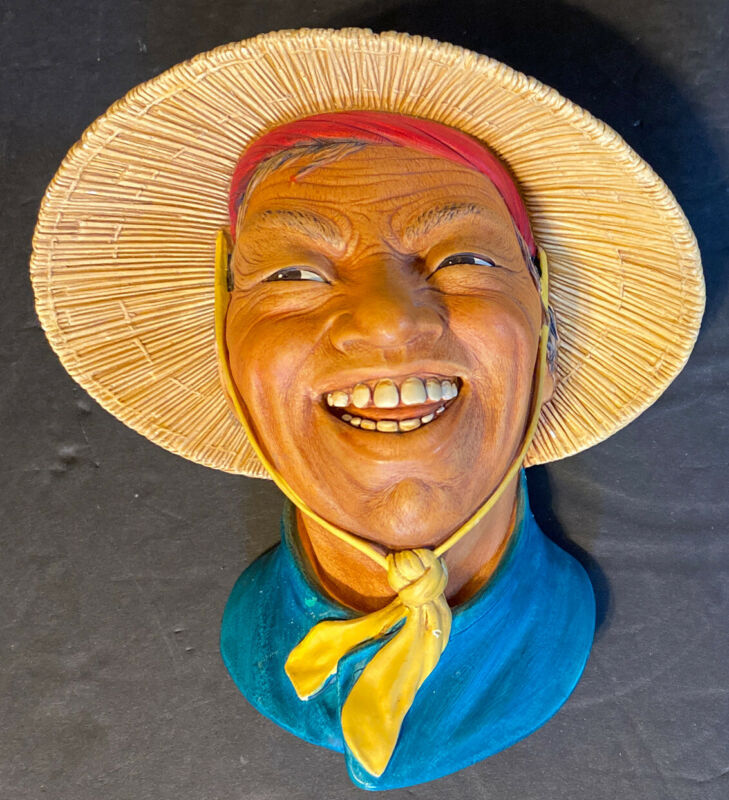 Bossons Chalkware Head Wall Plaque:  Chinese Coolie 1963