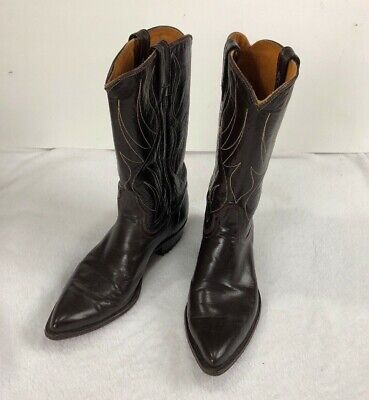 Acme all Leather Womens Brown Stitched Cowboy Boots Made in USA Size 8 1/2