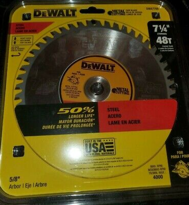 New Dewalt 7-14 48t Metal Cutting Blade 58 Arbor Max 4000 Rpm Dwa7766