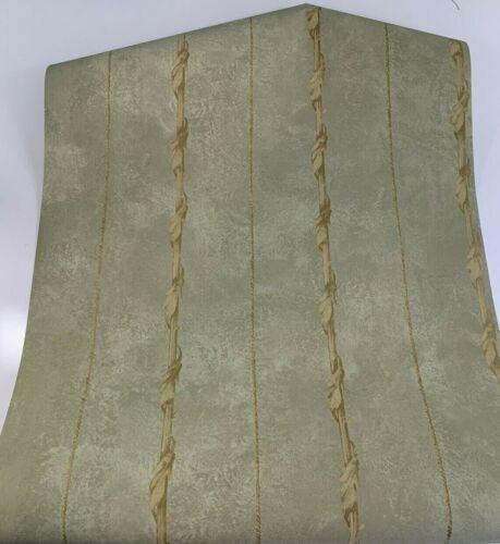 Prepasted Wallpaper Motif Green Gold ET3803 Lot of 6 Double Rolls CornerStone