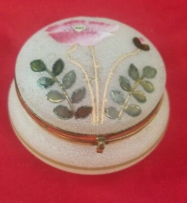 Frosted Glass Hand Painted Powder / Dresser / Vanity Jar with Poppy #DJIW14
