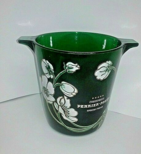 Vintage Green  Perrier-Jouet Glass Champagne Ice Bucket With Painted Flowers