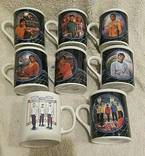Vintage Star Trek Coffee Mugs 1983/89 Hamilton Lot of 8 Mugs/Cups