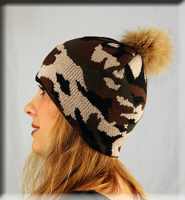- New Brown Army Print Beanie Beige Fox Fur Pom Pom - One Size Fits All