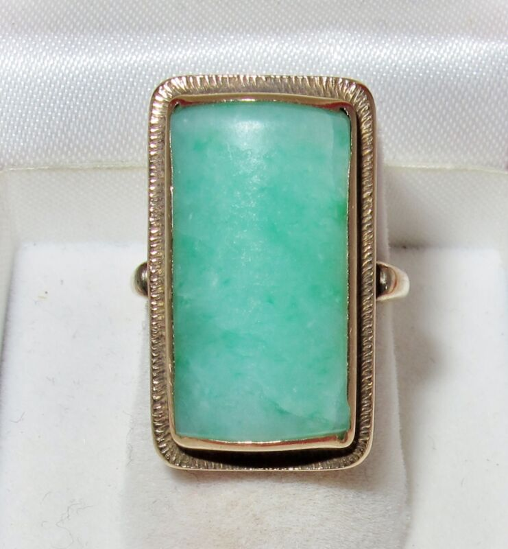 Chinese ? Vintage 14K Gold Ring w/ 21mm Green JADEITE Jade (7.4 grams, size 5.5)