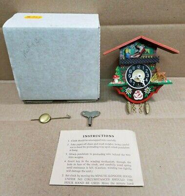 Vintage Mini Wooden German Cuckoo Clock Kids On Seesaw w/ Key Germany - WORKING