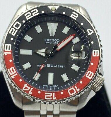 SEIKO Mens Scuba Diver Watch Automatic 150M Date 7002-7000 Black Dial Coke Bezel