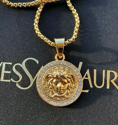 Medusa Pendant medallion chain Gold Color plated men Women Diamond simulants