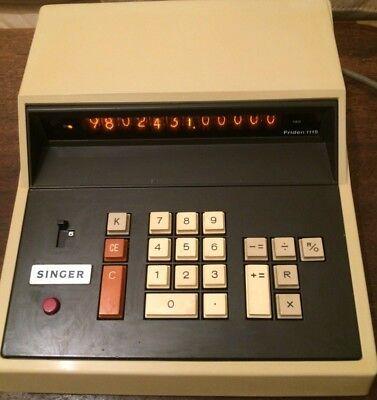 Singerfriden 1115 Vintage 1970s Nixie Tube Calculator 12 Digit Orange Display