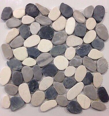 "Valencia Cool Blend Pebble Tile 12x12"" River Rock Stone Shower Floor Wall Mosaic"