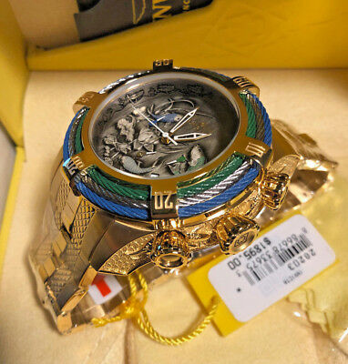 New Invicta Bolt Zeus Chrono Tri Cable Koi Fish Gold Tone Bracelet Watch 28203