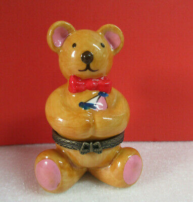 Teddy Bear with Bow Tie Holding Sailboat Hinged Porcelain Box