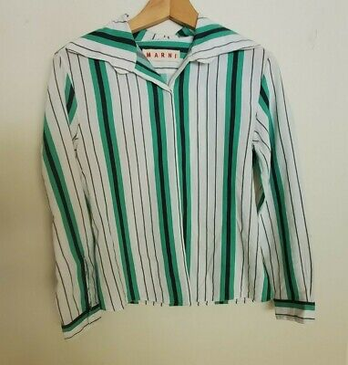 MARNI WHITE GREEN BLACK STRIPED BUTTON-UP SHIRT TOP BLOUSE SIZE 42 S