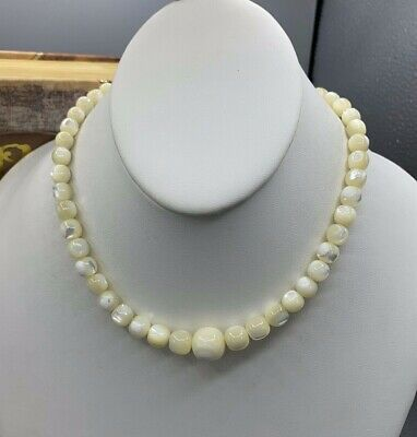 VINTAGE Mother of Pearl Beaded Choker! Gorgeous Luster! Mother Of Pearl Beaded Bracelets