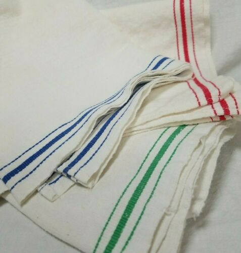 Large Antique Heavy Linen Kitchen Towels - Blue-Red-Green STARTEX