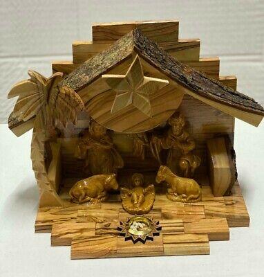 Vintage Fontanini Nativity Depose Italy Set Of Figures & Wood Stable Jesus Mary