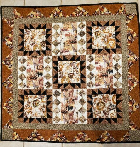 Handmade Patchwork Quilt 44x44 Lap Throw Brown Safari Animals Lion Giraffe Zebra