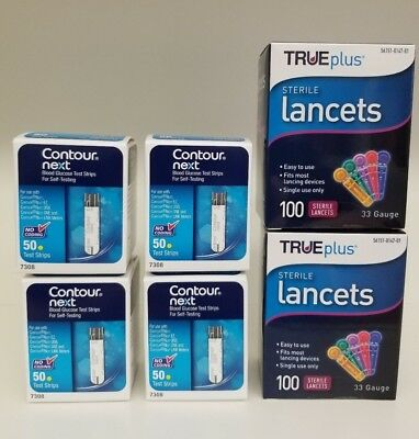 NEW Contour Next Blood Glucose 200 Test Strips + 200 Lancets 33G