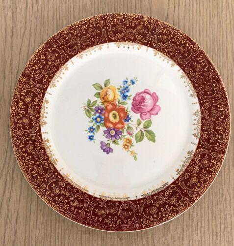 Vintage Limoges 22K Gold Meissen Rose Maroon Emperor- dinner plate 22K gold