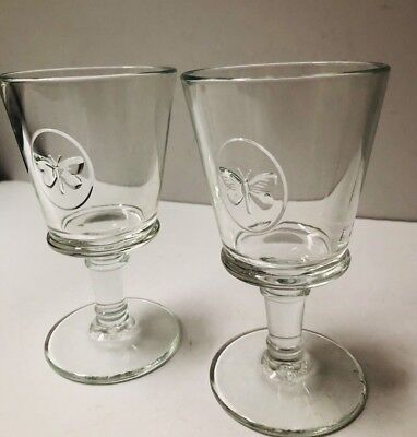 2 La Rochere Butterfly Footed Water Goblet Wine Stem Glasses France Glass , used for sale  Manassas