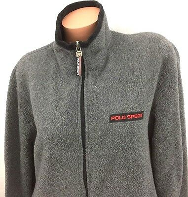 POLO SPORT RALPH LAUREN BLOCK SPELL OUT VINTAGE GRAY FLEECE JACKET MADE USA SZ L