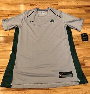 Boston Celtics Shooting Shirt - Nike Boston Celtics Grey Green City Edition Shooting Shirt 918147 014 LARGE