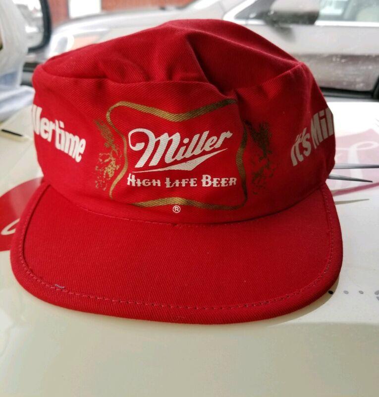 Vintage Original Miller High Life Beer Painter Hat Red 80