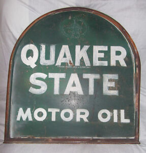 Vintage Quaker State Motor Oil Metal Tombstone Sign W