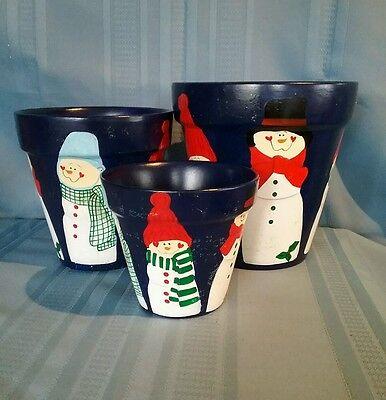 Set of 3 Snowman Plant Pots Planters - 3 Sizes