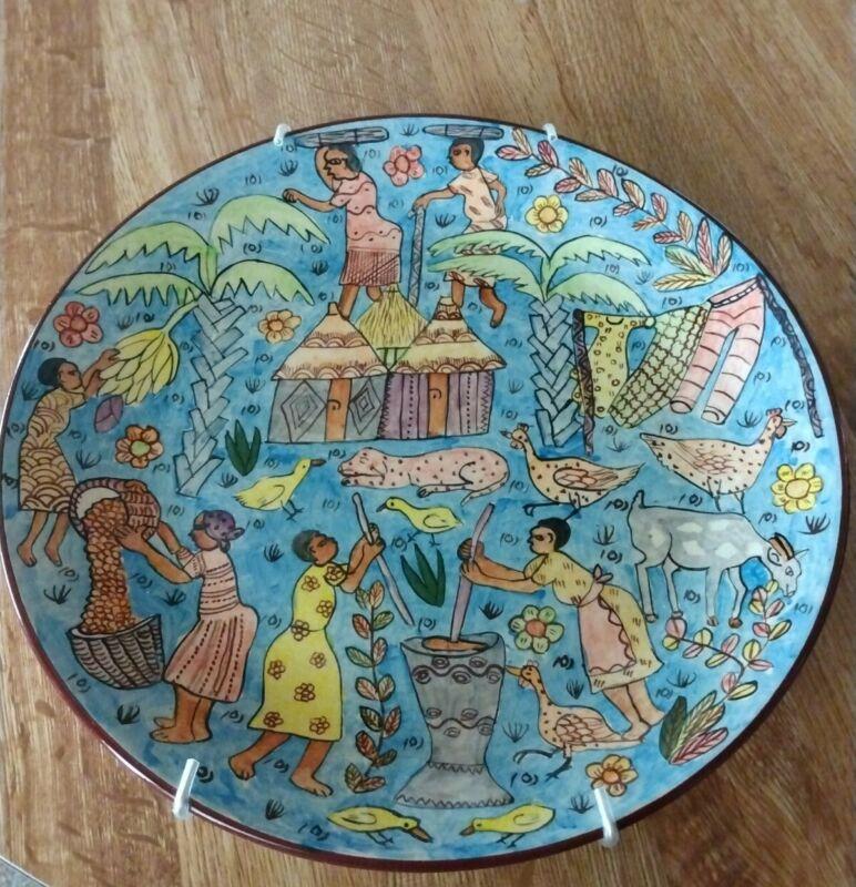 Zimbabwe Decorative Plate Hand Painted   Colorful Signed 2001.