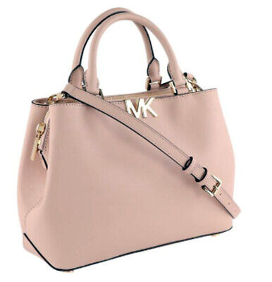 MICHAEL KORS Florence Ballet Pink Saffiano Leather Medium Satchel Handbag $348