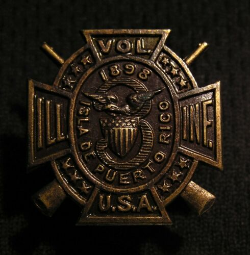 RARE 1898 3rd ILLINOIS VOLUNTEER INFANTRY ISLA DE PUERTO RICO BUTTON STUD PIN