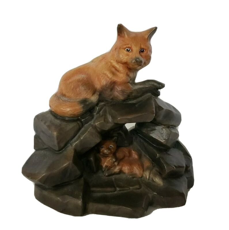 Red Fox Mother and cubs on rocks Ceramic Figurine Home décor