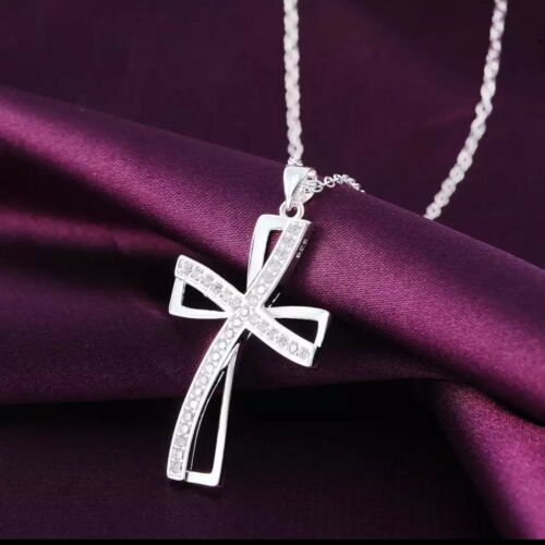 Women 925 Sterling Silver CZ Cubic Crystal Cross Pendant Necklace Diamante N95 Fashion Jewelry