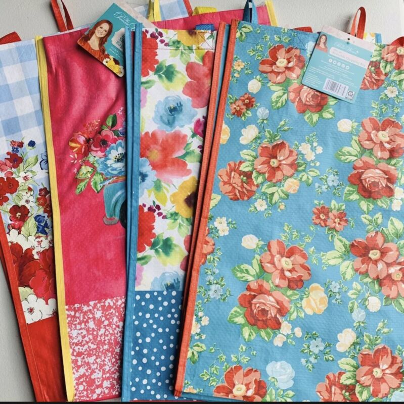 Pioneer Woman Reusable Shopping Bag Tote Classic Charm Truck Blossoms Set Of 4