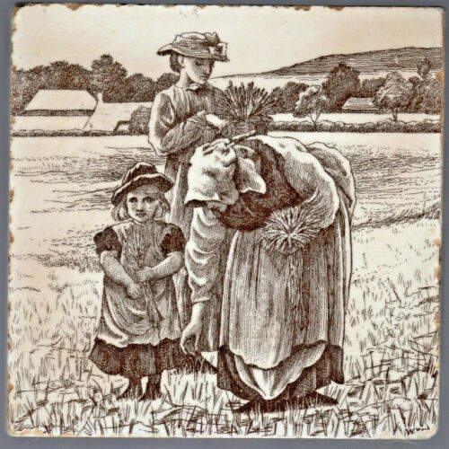 Mintons Ltd - c1878 - Gleaners - by William Wise - Antique Victorian Tile
