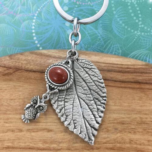 Owl Leaf Keyring Keychain & Gold Stone Charm