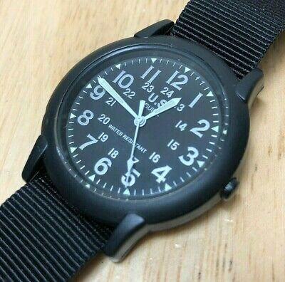 Unused Vintage U.S. Guide Men Black Military Style Quartz Watch Hour~New Battery