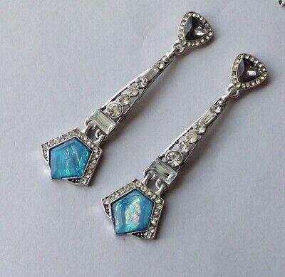 1920s Art Deco Jewelry: Earrings, Necklaces, Brooch, Bracelets Arctica Earrings Art Deco Revival Blue Opalite Rhinestone Jazz Age Drops $20.00 AT vintagedancer.com