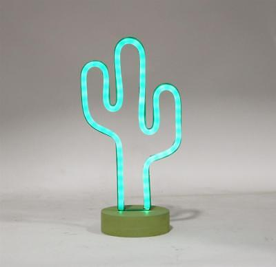 CACTUS NEON DESK TABLE LIGHT Lounge Home Decor Tropical Theme New 13.5 in.T New - Desk Decoration Themes