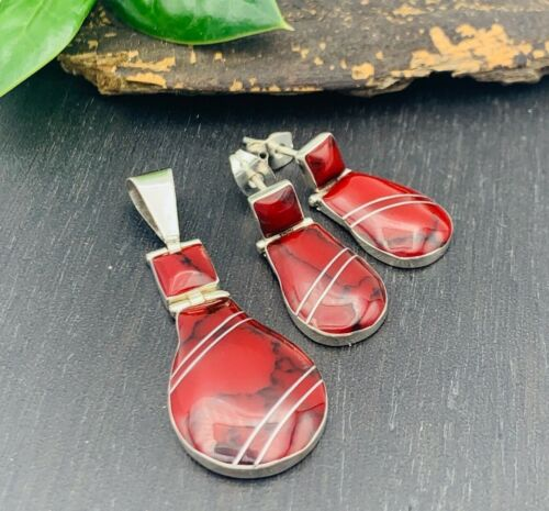 TAXCO Red Jasper Earrings & Pendant set 950 Sterling Silver Mexico Jewelry