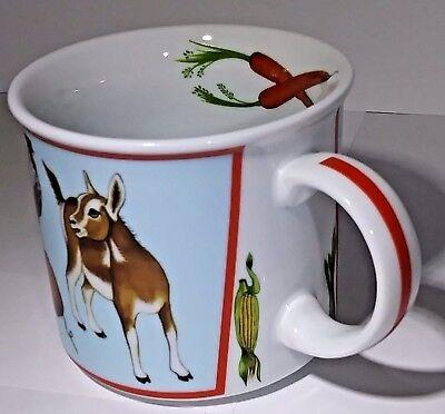 1997 Lynn Chase Designs Tea Cup Barn Dance 6 FL Oz Baby Farm Animals Themed