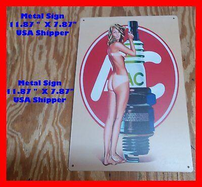 AC Spark Plug Tin Metal Man Cave Sign Pinup Girl Home Garage BAR Shop DECOR STUF
