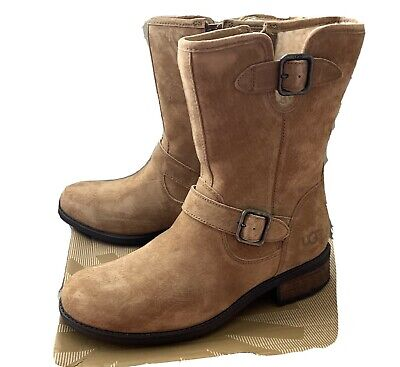 UGG AUSTRALIA CHANEY SUEDE Water Resistant MOTO BOOTS Women's Size 9