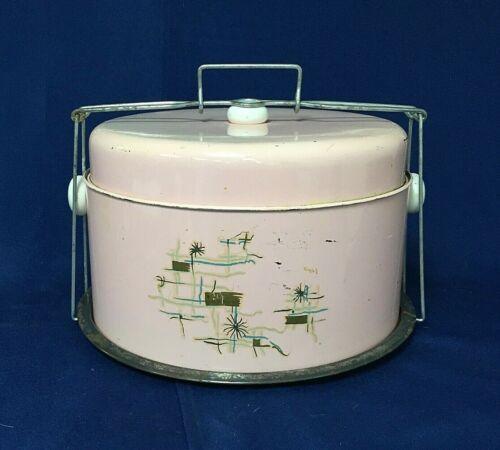 Vintage Pink Metal Cake Carrier w/Lid and Lock Mid Century 50
