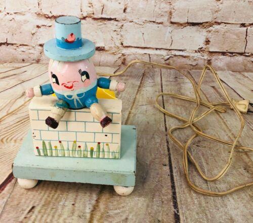 "Vtg Underwriters Wooden Humpty Dumpty Nursery Lamp 7"" Nightlight w music box"