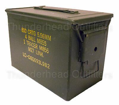 FAT 50 CAL Ammo Can PA108 SAW Box Steel USGI Military Surplus Very Good - Surplus Ammo