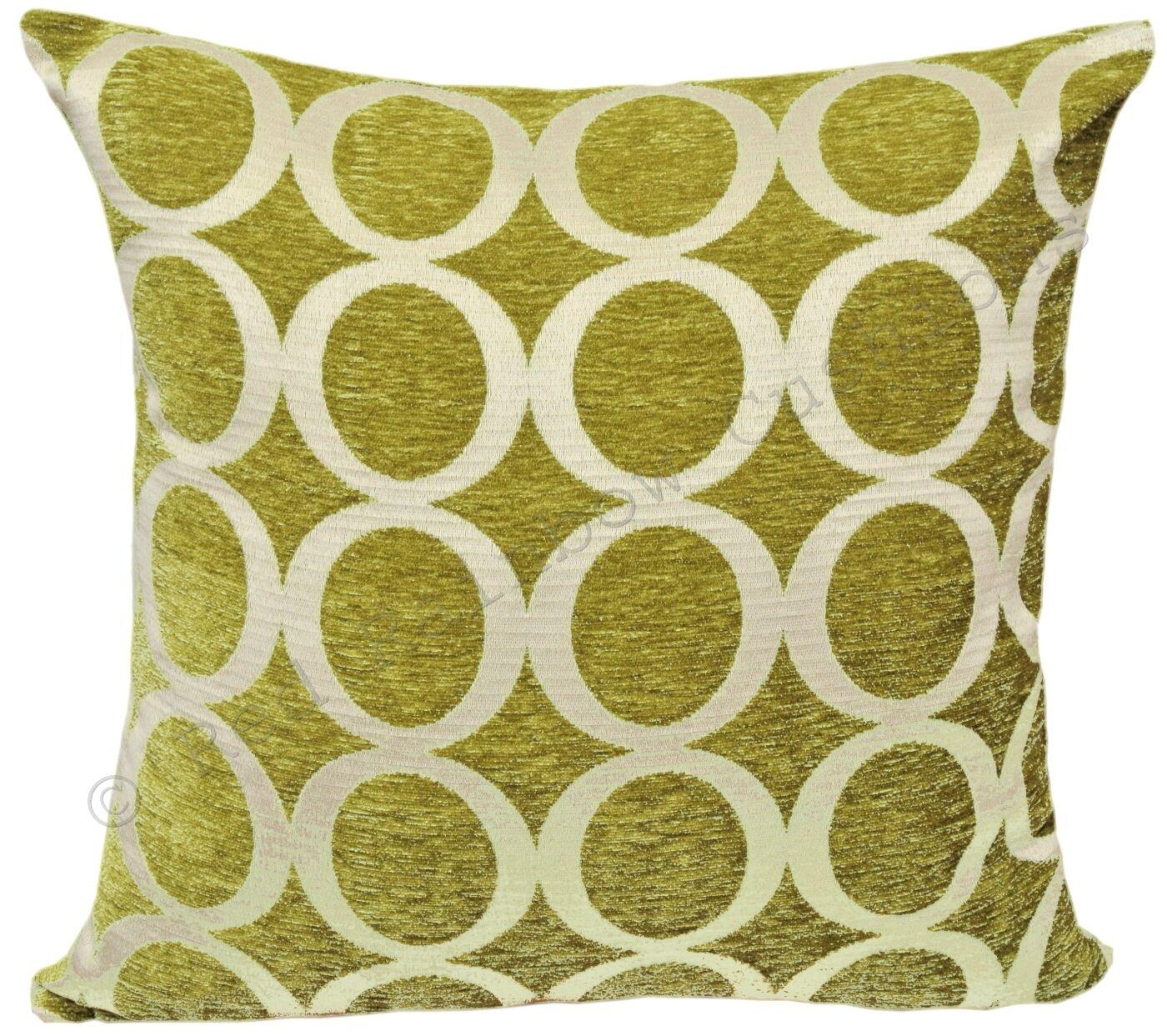 "Lime Green & Cream 18"" Luxury Soft Chenille Cushion Cover Oh BNWT"